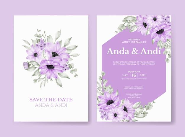 Invito a nozze con bellissimo fiore viola morbido e foglie
