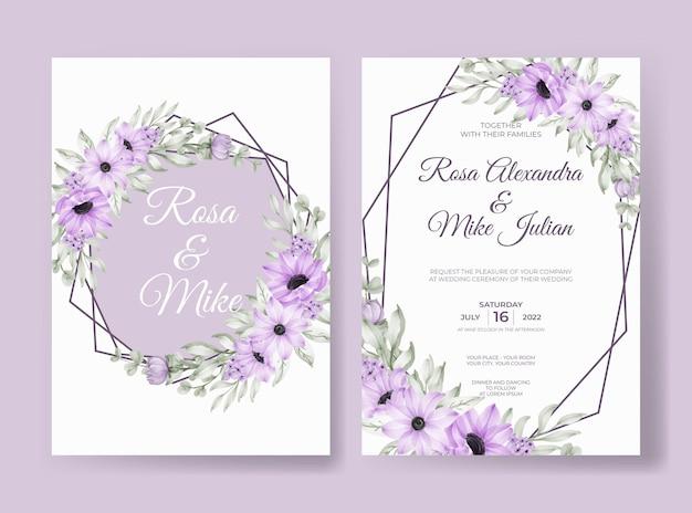 Invito a nozze con bellissimi fiori e foglie viola morbidi
