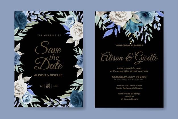 Invito a nozze con fiore di rose morbide blu