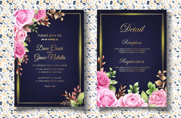 Invito a nozze con eleganti foglie floreali