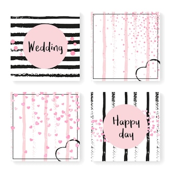 Invito a nozze con coriandoli glitterati e strisce. cuori rosa e puntini su sfondo nero e rosa. modello con set di inviti di nozze per feste, eventi, addio al nubilato, salva la data card.