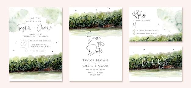 Set di partecipazioni di nozze con acquerello vista mangrovia