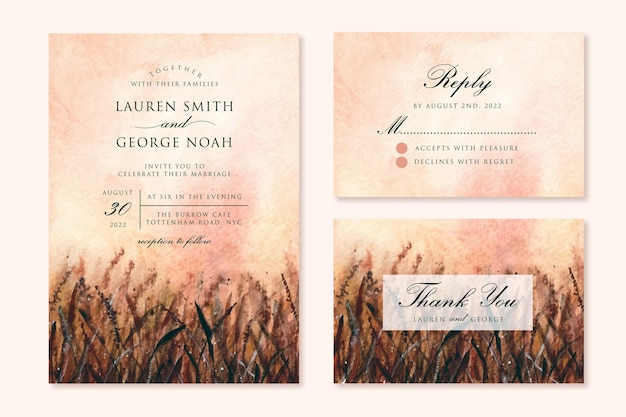 Invito a nozze impostato con acquerello campo di erba al tramonto