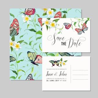 Set di partecipazioni di nozze con fiori tropicali e farfalle