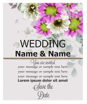 La molla dell'invito di nozze fiorisce l'acquerello del fondo