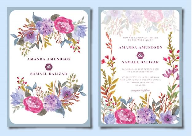 Suite per inviti di nozze con acquerelli floreali di ortensie