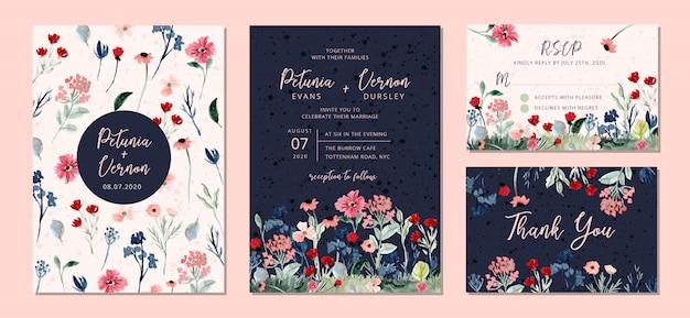 Suite per inviti di nozze con acquarello di fiori selvatici Vettore Premium