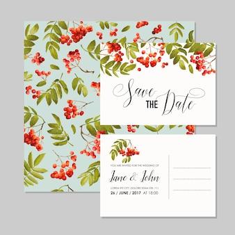 Modello di invito a nozze. biglietti save the date floreali con bacche di sorbo. sfondo di decorazione per la celebrazione della festa di matrimonio