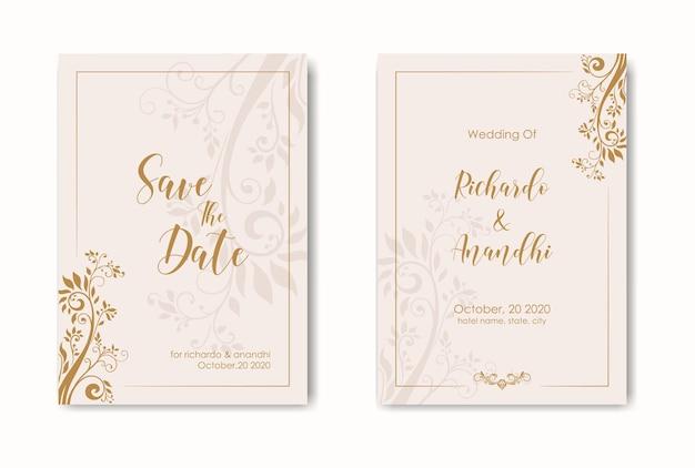 Modello di invito a nozze in stile floreale. elegante invito a nozze con colore dorato.