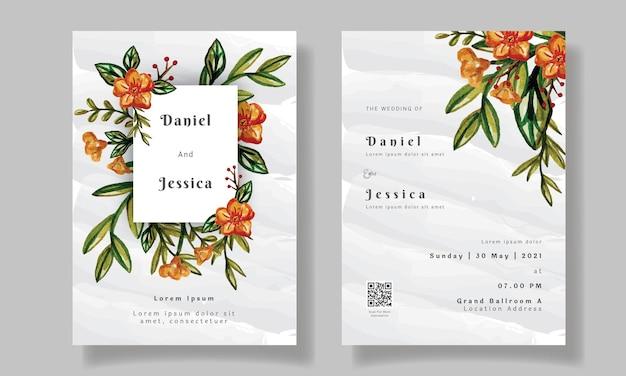 Secchio floreale dell'acquerello del modello dell'invito di nozze