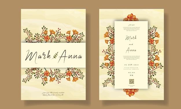 Acquerello floreale del modello dell'invito di nozze