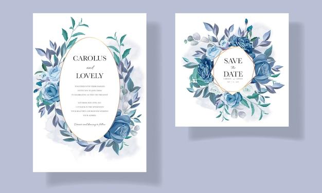 Modello di invito a nozze con bellissimo bouquet floreale blu e decorazioni di bordi
