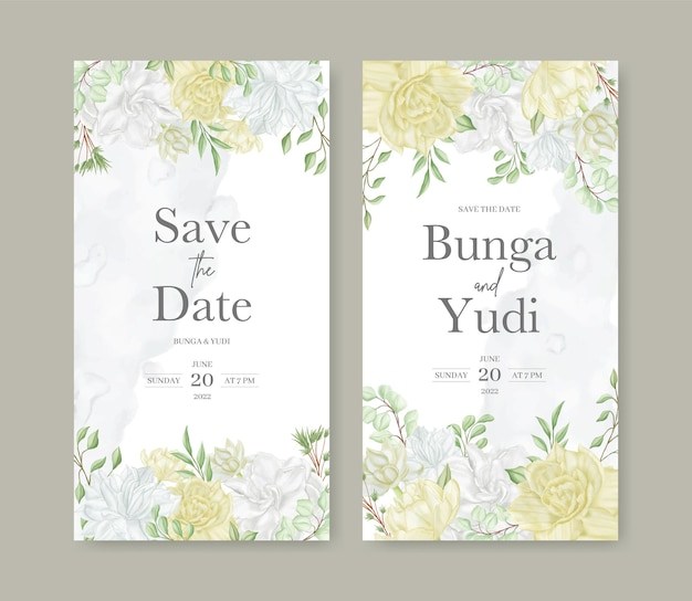 Modello di invito a nozze con bellissimo fiore ad acquerello
