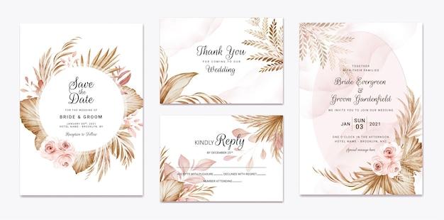 Modello di invito a nozze con decorazioni floreali e foglie essiccate marrone e pesca. concetto di design della carta botanica