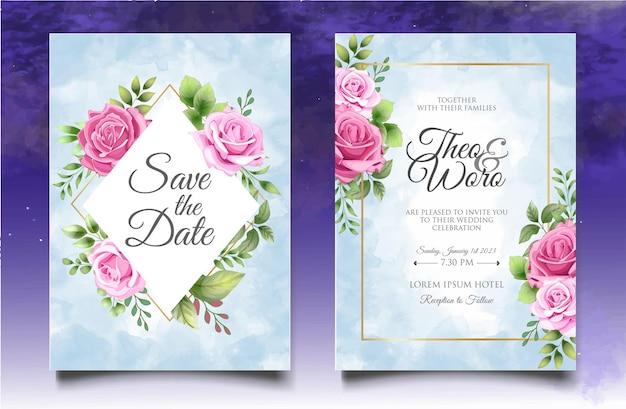 Modello di invito a nozze con elegante decorazione floreale