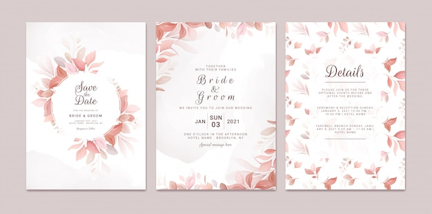 Il modello dell'invito di nozze ha messo con la struttura e il modello floreali romantici. composizione di rose e fiori di sakura