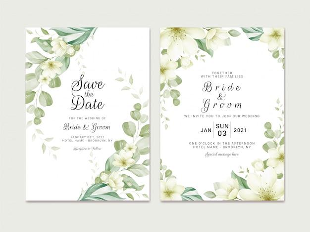 Il modello dell'invito di nozze ha messo con la decorazione floreale del confine dell'acquerello molle. illustrazione botanica per la progettazione della composizione della carta