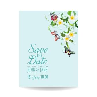 Modello di invito a nozze design tropicale con farfalle e fiori esotici