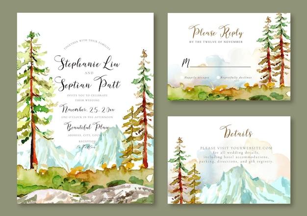 Modello di invito a nozze paesaggio ad acquerello di vista sulle montagne e alberi di pino autunno