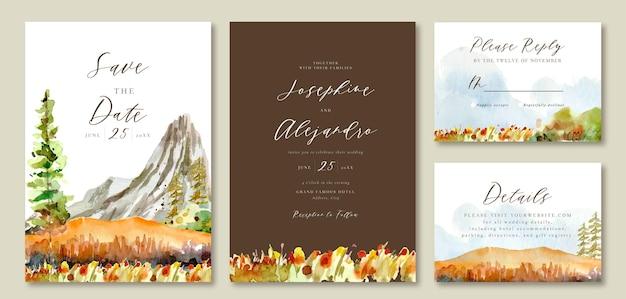 Modello di invito a nozze paesaggio ad acquerello rock mountain view e warm pine trees