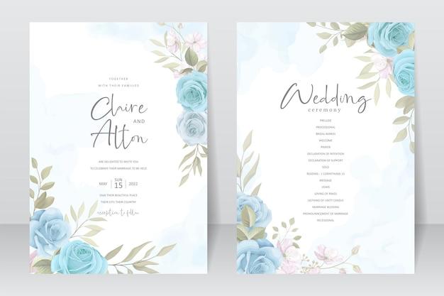 Modello di invito a nozze con un bellissimo disegno floreale Vettore Premium