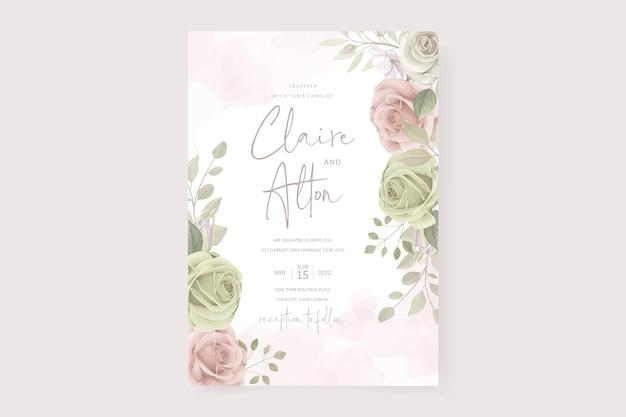 Modello di invito a nozze con bellissimi fiori e foglie