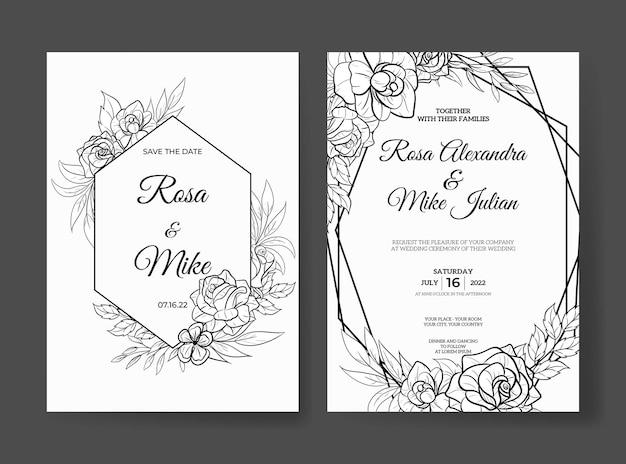 Modello di invito a nozze con bellissimo fiore di contorno Vettore Premium