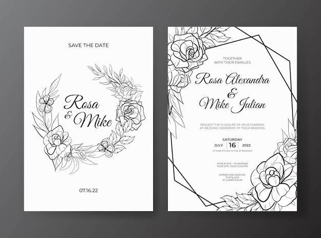 Modello di invito a nozze con bellissimo fiore di contorno