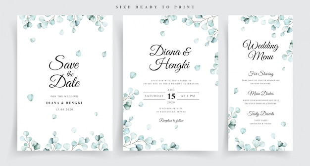 Modello di invito di matrimonio con bellissimo eucalipto morbido