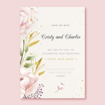 Modello dell'invito di nozze con il grande fiore