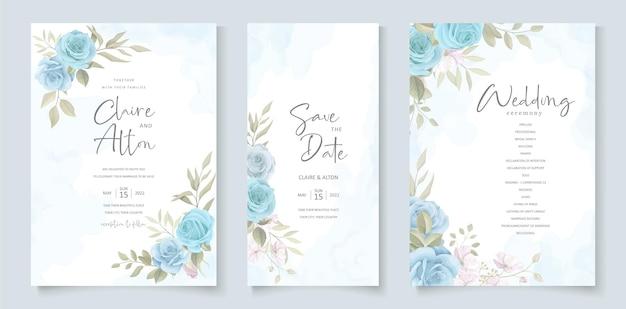 Modello di invito a nozze con disegno floreale blu