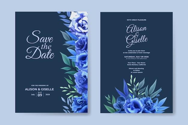 Modello di invito a nozze con set di fiori rosa blu