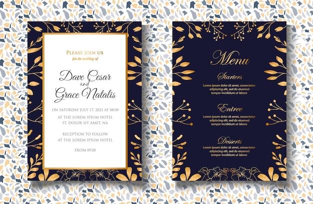 Modello di invito a nozze con decorazioni floreali dorate
