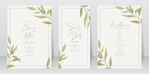 Modello di invito a nozze con design a foglia verde