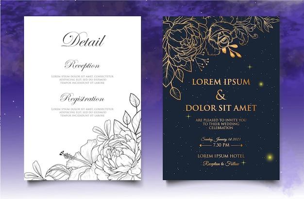 Modello di invito a nozze con decorazioni floreali disegnate a mano