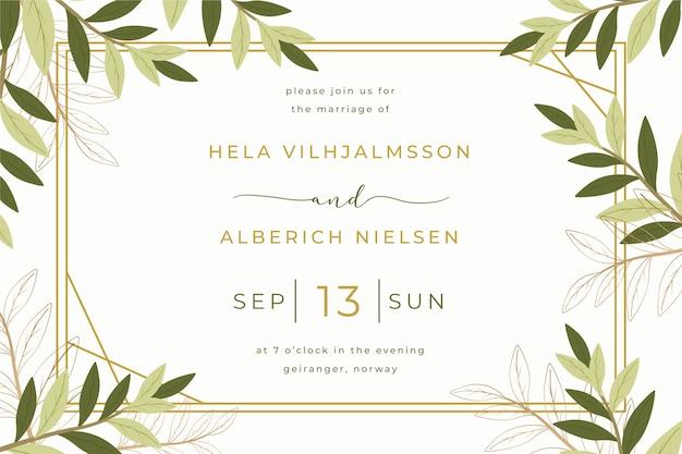 Modello dell'invito di nozze con le foglie Vettore Premium