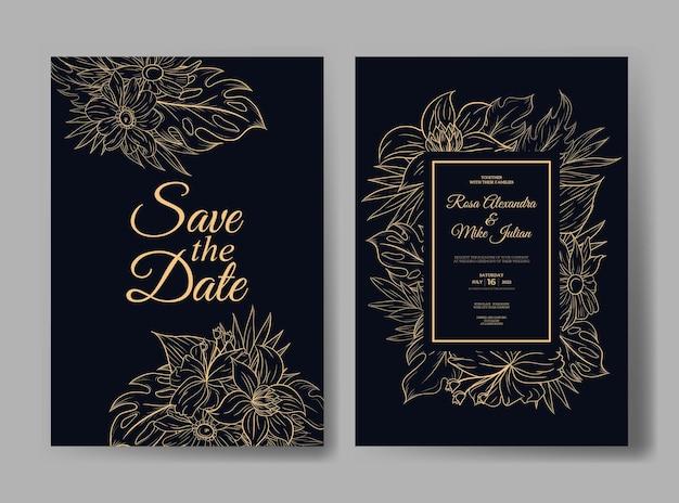 Modello di invito a nozze con contorno di fiori tropicali di monstera