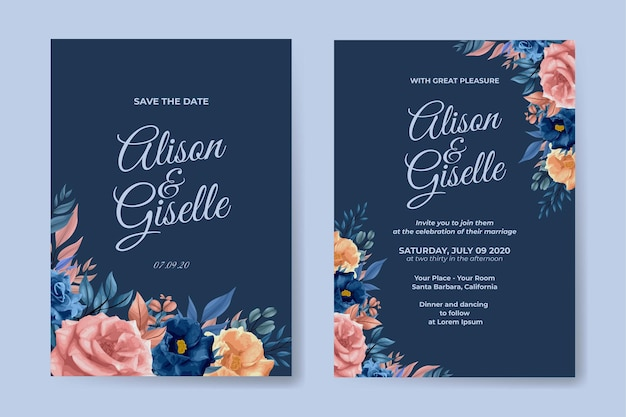 Modello di invito a nozze con fiore di contorno