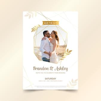 Modello di invito a nozze con foto di coppia
