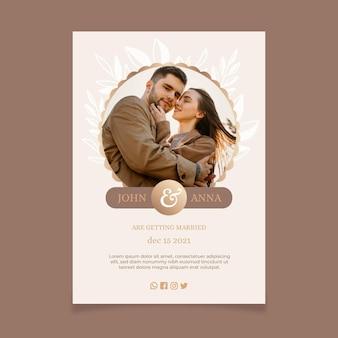 Modello di invito a nozze con foto