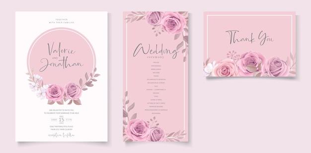 Modello di invito a nozze con disegno floreale rosa