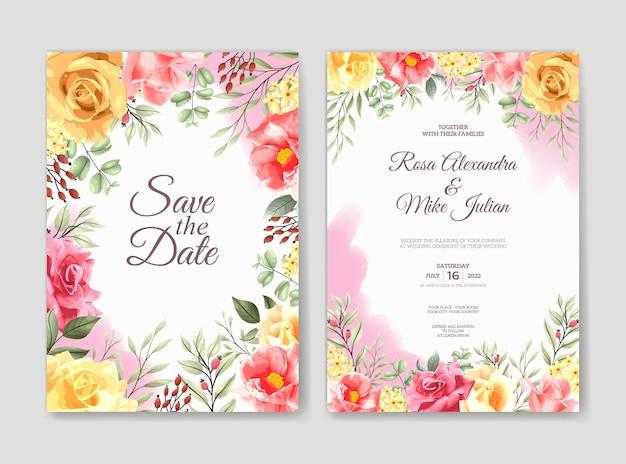 Modello di invito a nozze con set di fiori rosa rosa