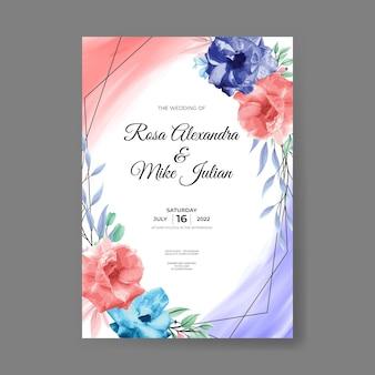 Modello di invito a nozze con set di fiori di rosa