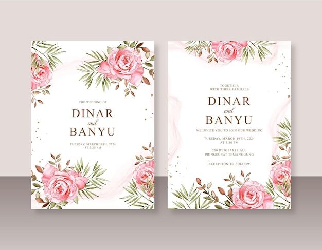 Modello di invito a nozze con pittura ad acquerello di rose