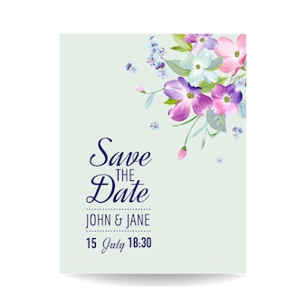 Modello di invito a nozze con fiori di corniolo primaverile