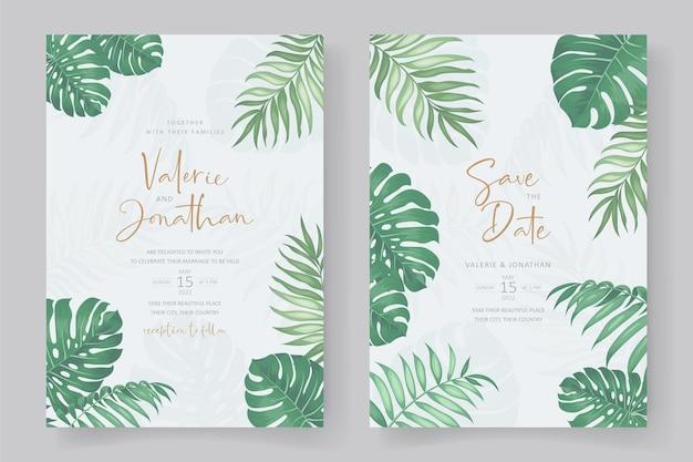 Modello di invito a nozze con ornamento di foglie tropicali