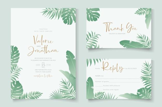 Modello di invito a nozze con ornamento di foglie tropicali Vettore Premium