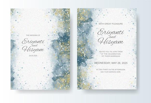 Modello di invito a nozze con sfondo acquerello e schizzi