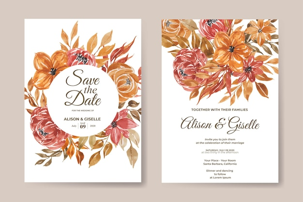 Modello di invito a nozze con set di fiori dell'acquerello