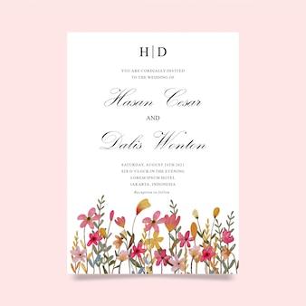 Modello di invito di nozze con fiori ad acquerelli